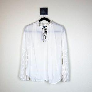Lauren Ralph Lauren White pleated blouse NWT S